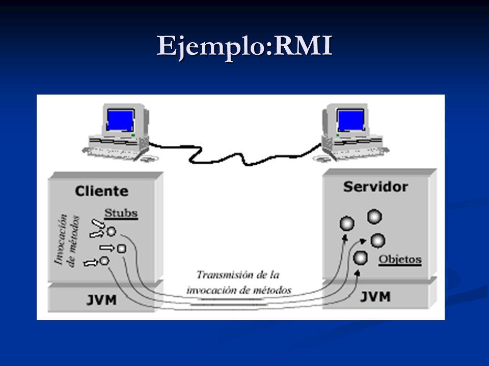Ejemplo: RMI Interfaces Java que derivan de la interfaz java.rmi.Remote Interfaces Java que derivan de la interfaz java.rmi.Remote Todos los métodos deben declarar java.rmi.RemoteException Todos los métodos deben declarar java.rmi.RemoteException Argumentos que pueden tomar los métodos: Argumentos que pueden tomar los métodos: Tipos primitivos Java Tipos primitivos Java Stubs y objetos remotos Stubs y objetos remotos Objetos locales serializables (implementan la clase java.io.Serializable) Objetos locales serializables (implementan la clase java.io.Serializable)