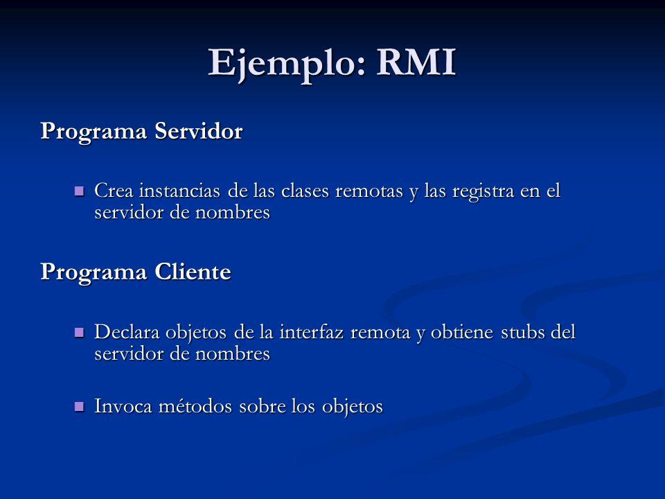 Ejemplo: RMI Java RMI define un servicio de nombres muy sencillo Java RMI define un servicio de nombres muy sencillo El esquema de nombrado sigue la sintaxis de una URL //máquina:puerto/nombreDeObjeto, siendo El esquema de nombrado sigue la sintaxis de una URL //máquina:puerto/nombreDeObjeto, siendo nombreDeObjeto un nombre simple nombreDeObjeto un nombre simple máquina y puerto hacen referencia a la máquina en la que corre el programa servidor de nombres máquina y puerto hacen referencia a la máquina en la que corre el programa servidor de nombres Por defecto, máquina = localhost y puerto = 1099 Por defecto, máquina = localhost y puerto = 1099