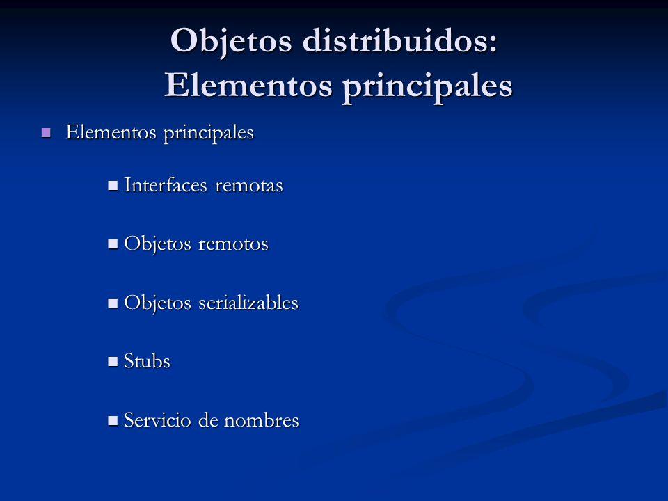 Objetos distribuidos: Elementos principales Elementos principales Elementos principales Interfaces remotas Interfaces remotas Objetos remotos Objetos