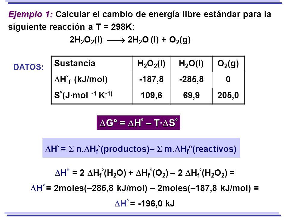 Ejemplo 1: Ejemplo 1: Calcular el cambio de energía libre estándar para la siguiente reacción a T = 298K: 2H 2 O 2 (l) 2H 2 O (l) + O 2 (g) H ° = 2 H f ° (H 2 O) + H f ° (O 2 ) – 2 H f ° (H 2 O 2 ) = H ° = 2moles(–285,8 kJ/mol) – 2moles(–187,8 kJ/mol) = H ° = -196,0 kJ SustanciaH 2 O 2 (l)H 2 O(l)O 2 (g) H ° f (kJ/mol) -187,8-285,80 S ° (J·mol -1 K -1) 109,669,9205,0 DATOS: G° = H ° – T· S ° G° = H ° – T· S ° H ° = n.