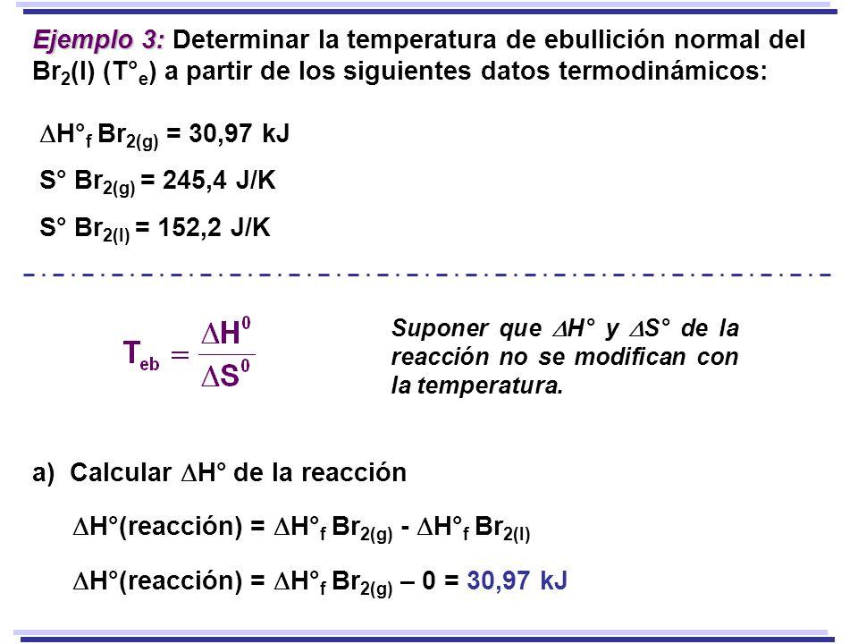 Ejemplo 3: Ejemplo 3: Determinar la temperatura de ebullición normal del Br 2 (l) (T° e ) a partir de los siguientes datos termodinámicos: H° f Br 2(g) = 30,97 kJ S° Br 2(g) = 245,4 J/K S° Br 2(l) = 152,2 J/K Suponer que H° y S° de la reacción no se modifican con la temperatura.