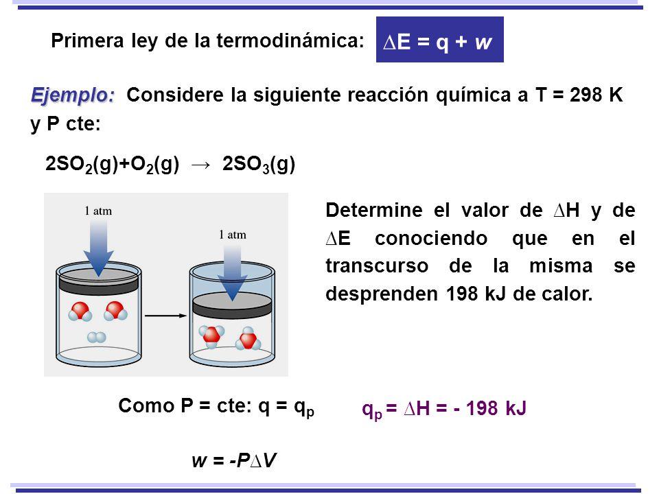 2SO 2 (g)+O 2 (g) 2SO 3 (g) Como P = cte: q = q p w = -PV Determine el valor de H y de E conociendo que en el transcurso de la misma se desprenden 198 kJ de calor.