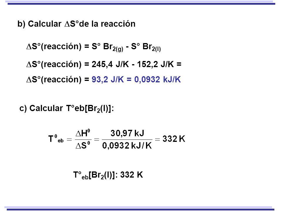 S°(reacción) = S° Br 2(g) - S° Br 2(l) S°(reacción) = 245,4 J/K - 152,2 J/K = S°(reacción) = 93,2 J/K = 0,0932 kJ/K b) Calcular S°de la reacción T° eb [Br 2 (l)]: 332 K c) Calcular T°eb[Br 2 (l)]: