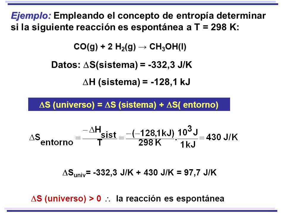 Ejemplo: Ejemplo: Empleando el concepto de entropía determinar si la siguiente reacción es espontánea a T = 298 K: CO(g) + 2 H 2 (g) CH 3 OH(l) Datos: S(sistema) = -332,3 J/K H (sistema) = -128,1 kJ S (universo) = S (sistema) + S( entorno) S univ = -332,3 J/K + 430 J/K = 97,7 J/K S (universo) > 0 la reacción es espontánea
