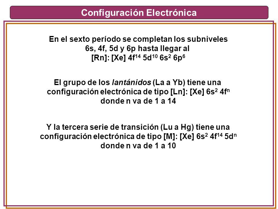 Configuración Electrónica En el sexto período se completan los subniveles 6s, 4f, 5d y 6p hasta llegar al [Rn]: [Xe] 4f 14 5d 10 6s 2 6p 6 El grupo de