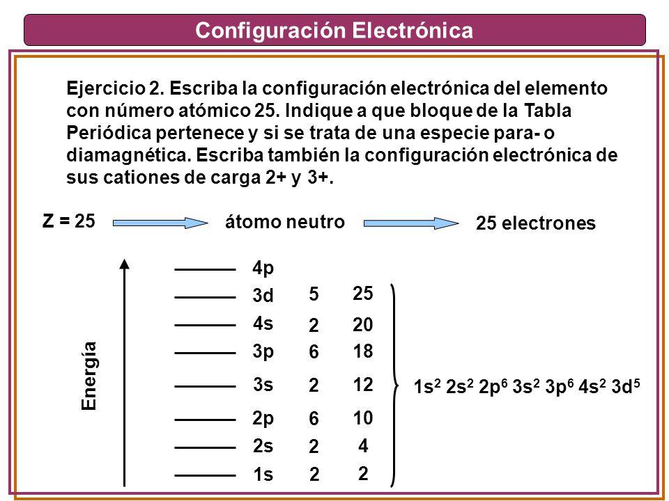 Configuración Electrónica Ejercicio 2. Escriba la configuración electrónica del elemento con número atómico 25. Indique a que bloque de la Tabla Perió