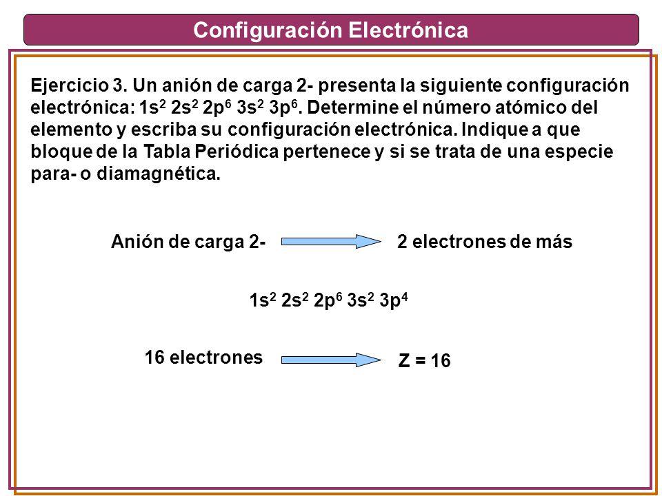 Configuración Electrónica Ejercicio 3. Un anión de carga 2- presenta la siguiente configuración electrónica: 1s 2 2s 2 2p 6 3s 2 3p 6. Determine el nú
