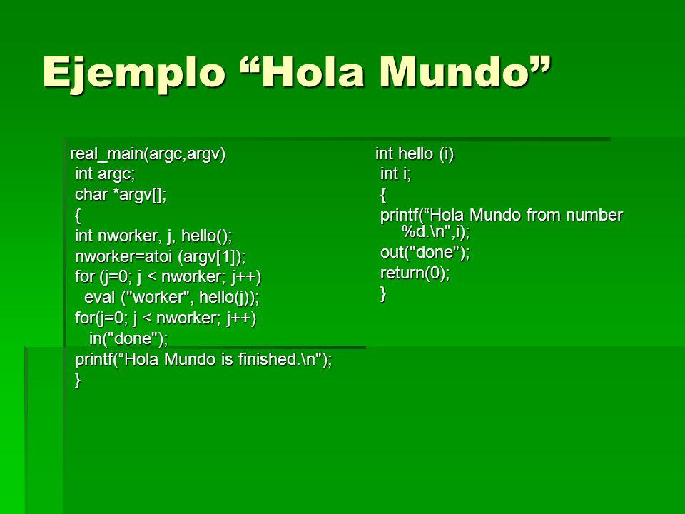 Ejemplo Hola Mundo real_main(argc,argv) int argc; int argc; char *argv[]; char *argv[]; { int nworker, j, hello(); int nworker, j, hello(); nworker=at