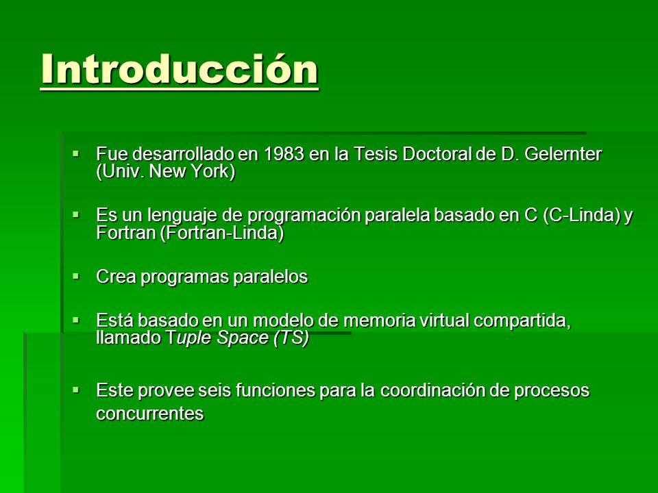 Introducción Fue desarrollado en 1983 en la Tesis Doctoral de D. Gelernter (Univ. New York) Fue desarrollado en 1983 en la Tesis Doctoral de D. Gelern