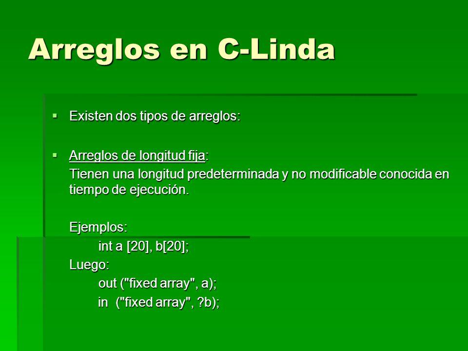 Arreglos en C-Linda Existen dos tipos de arreglos: Existen dos tipos de arreglos: Arreglos de longitud fija: Arreglos de longitud fija: Tienen una lon