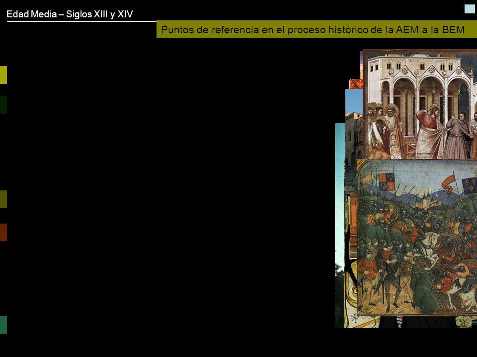 Edad Media – Siglos XIII y XIV Puntos de referencia en el proceso histórico de la AEM a la BEM Influencia oriental - Las Cruzadas – s. XI a XIII El Co