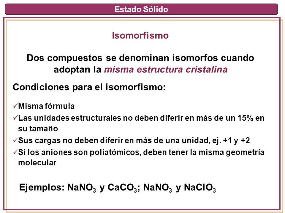 Estado Sólido Isomorfismo Dos compuestos se denominan isomorfos cuando adoptan la misma estructura cristalina Misma fórmula Las unidades estructurales