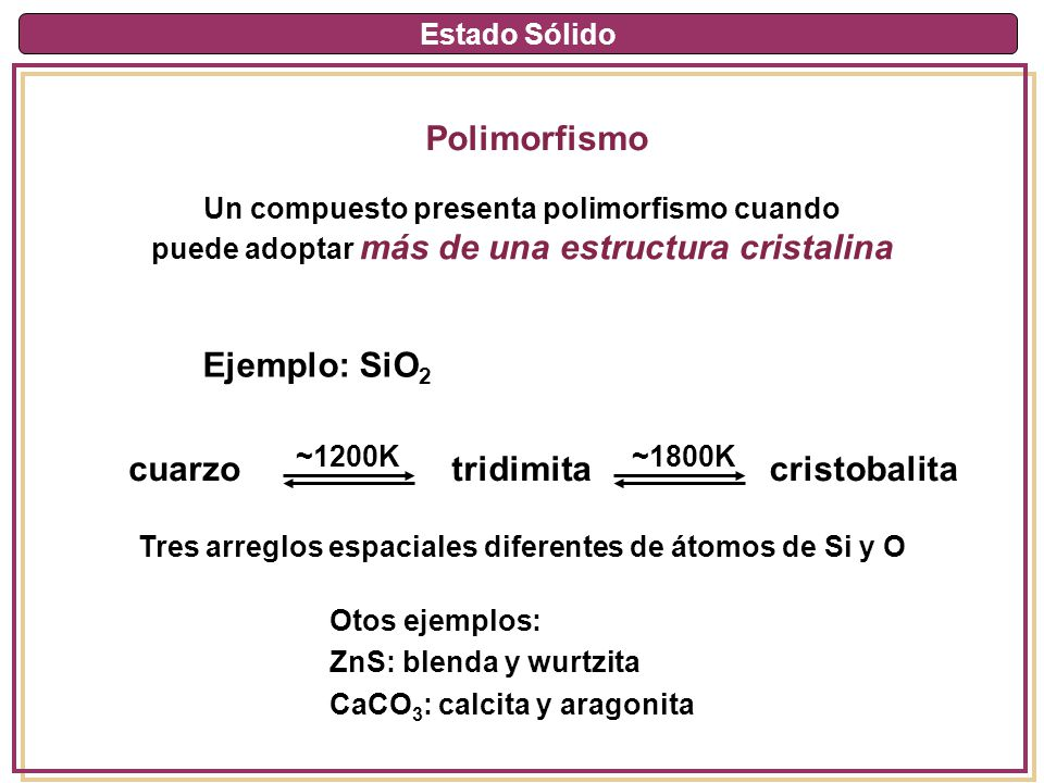 Estado Sólido Polimorfismo Un compuesto presenta polimorfismo cuando puede adoptar más de una estructura cristalina Ejemplo: SiO 2 cuarzotridimitacris