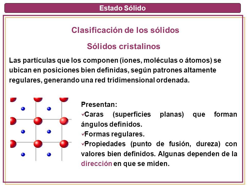 Estado Sólido Clasificación de los sólidos Sólidos cristalinos Las partículas que los componen (iones, moléculas o átomos) se ubican en posiciones bie
