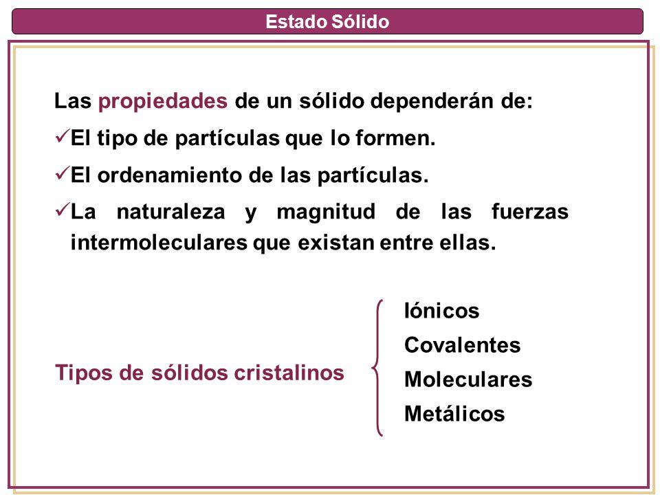 Estado Sólido Las propiedades de un sólido dependerán de: El tipo de partículas que lo formen. El ordenamiento de las partículas. La naturaleza y magn