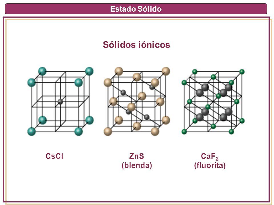 Estado Sólido Covalentes Átomos Enlaces covalentes Muy duros, PF muy altos, insolubles en agua, baja conductividad térmica y eléctrica C (diamante), cuarzo (SiO2)