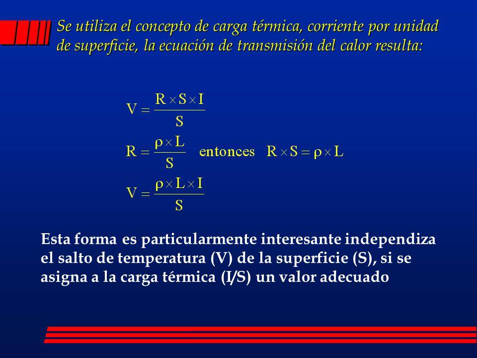 Se utiliza el concepto de carga térmica, corriente por unidad de superficie, la ecuación de transmisión del calor resulta: Esta forma es particularmen
