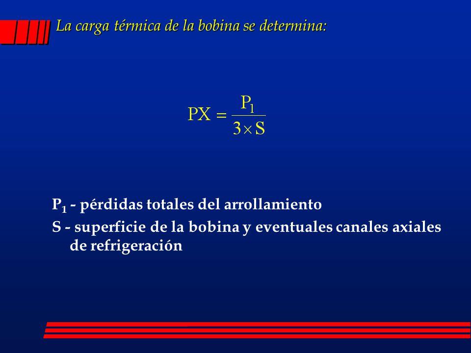 La carga térmica de la bobina se determina: P 1 - pérdidas totales del arrollamiento S - superficie de la bobina y eventuales canales axiales de refri