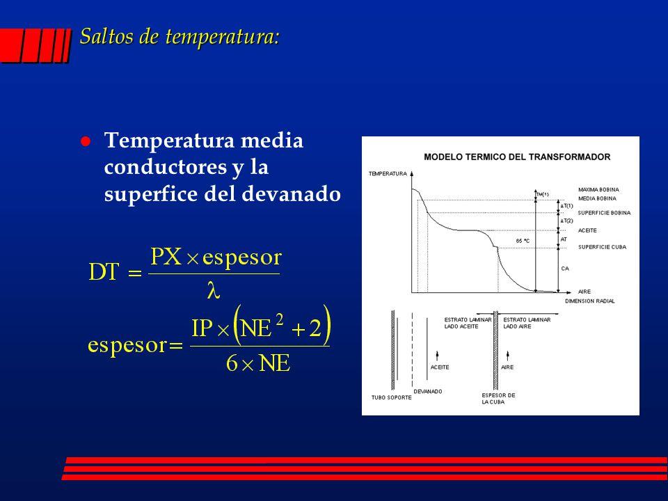 Saltos de temperatura: l Temperatura media conductores y la superfice del devanado