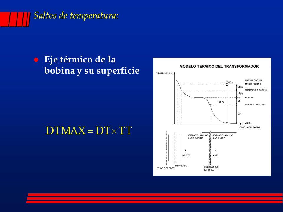 Saltos de temperatura: l Eje térmico de la bobina y su superficie