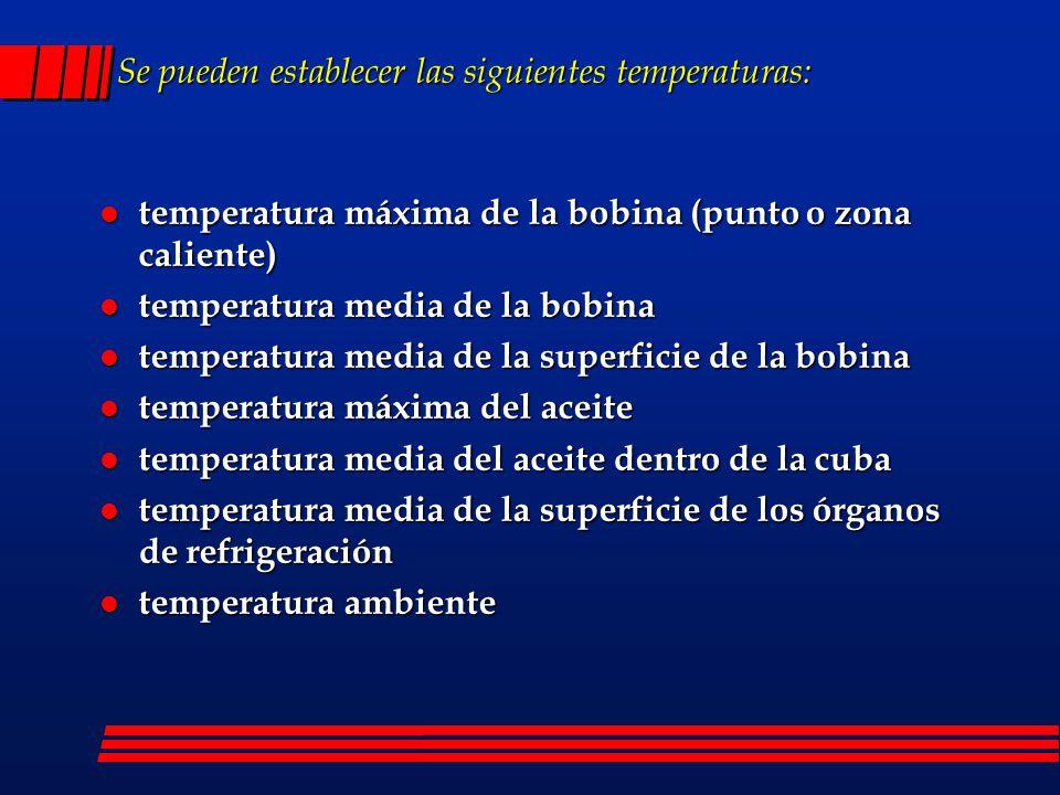 Conclusiones: l Las normas establecen los valores de sobreelevación de temperatura máxima del aceite y media de los arrollamientos.