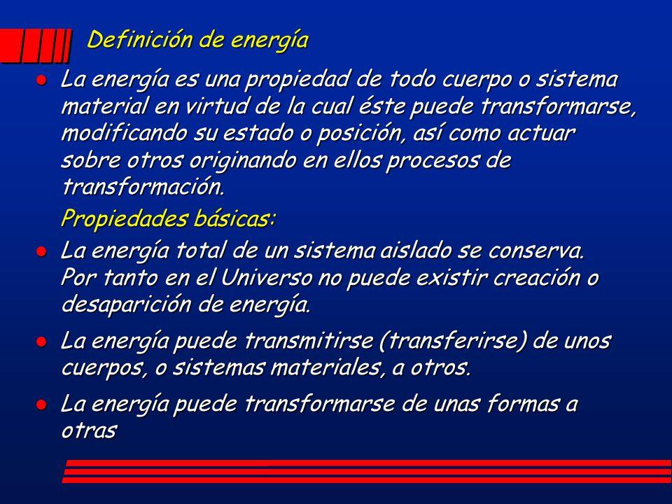 Definición de energía l La energía es una propiedad de todo cuerpo o sistema material en virtud de la cual éste puede transformarse, modificando su es