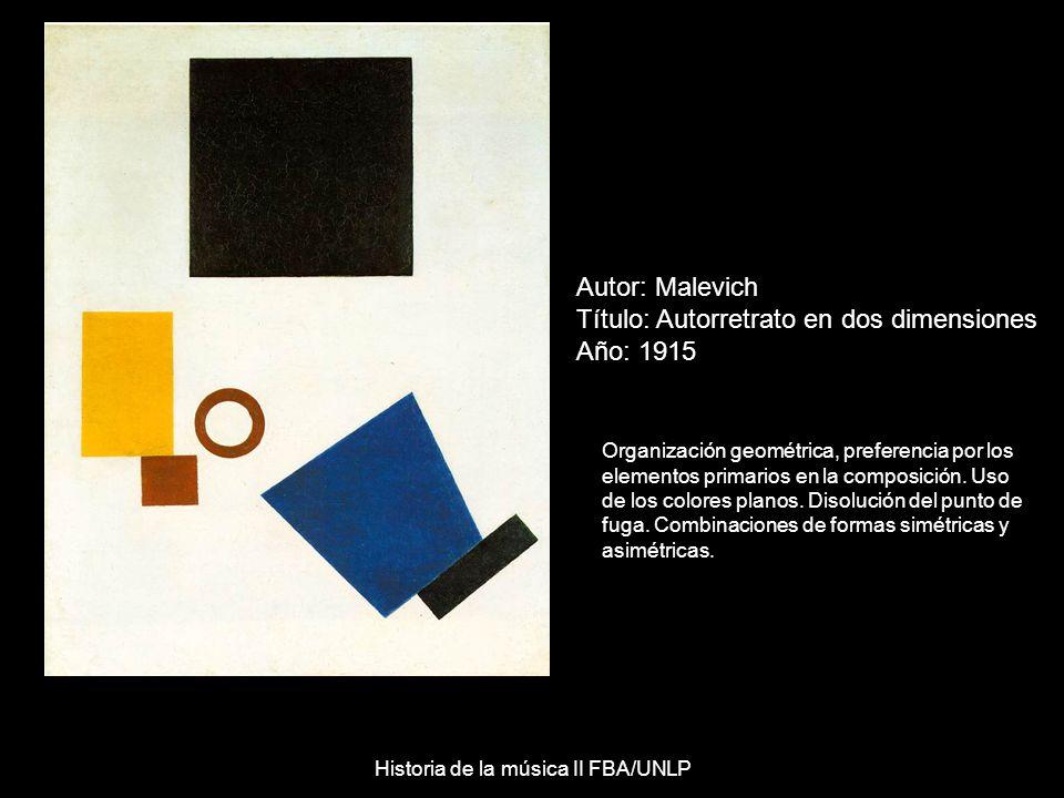 Autor: Malevich Título: Autorretrato en dos dimensiones Año: 1915 Organización geométrica, preferencia por los elementos primarios en la composición.