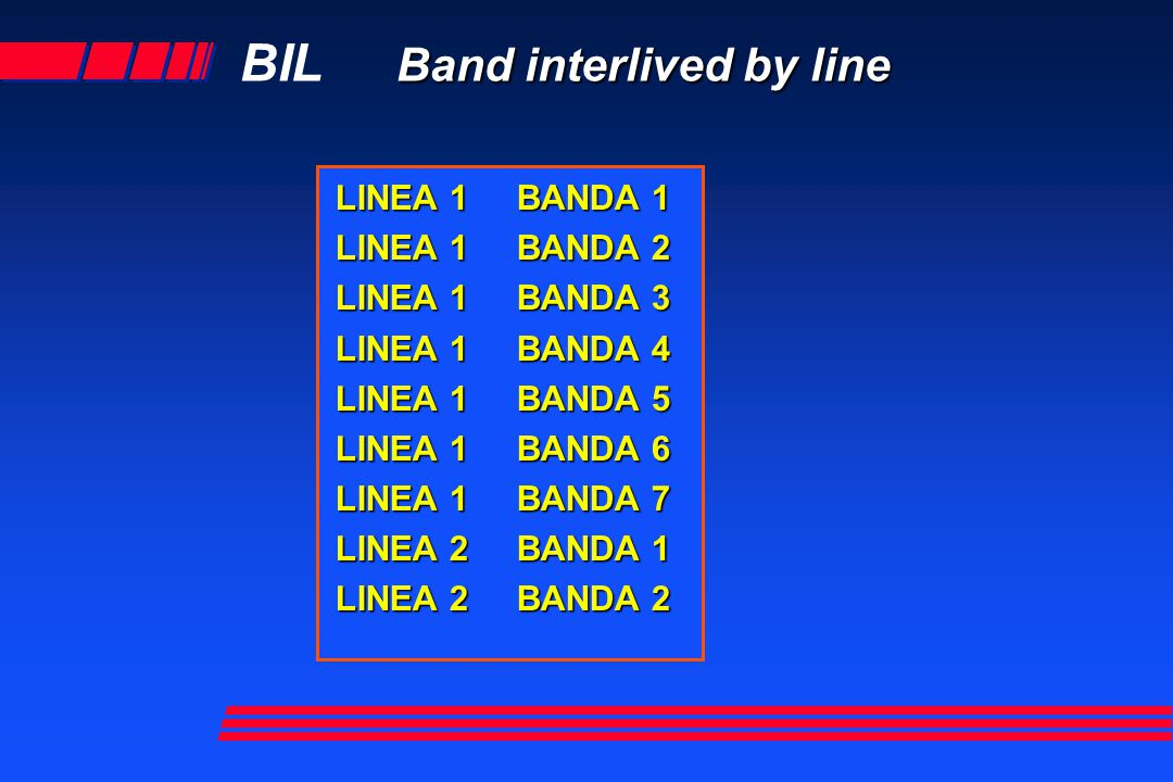 Band interlived by line BIL Band interlived by line LINEA 1 BANDA 1 LINEA 1 BANDA 2 LINEA 1 BANDA 3 LINEA 1 BANDA 4 LINEA 1 BANDA 5 LINEA 1 BANDA 6 LINEA 1 BANDA 7 LINEA 2 BANDA 1 LINEA 2 BANDA 2