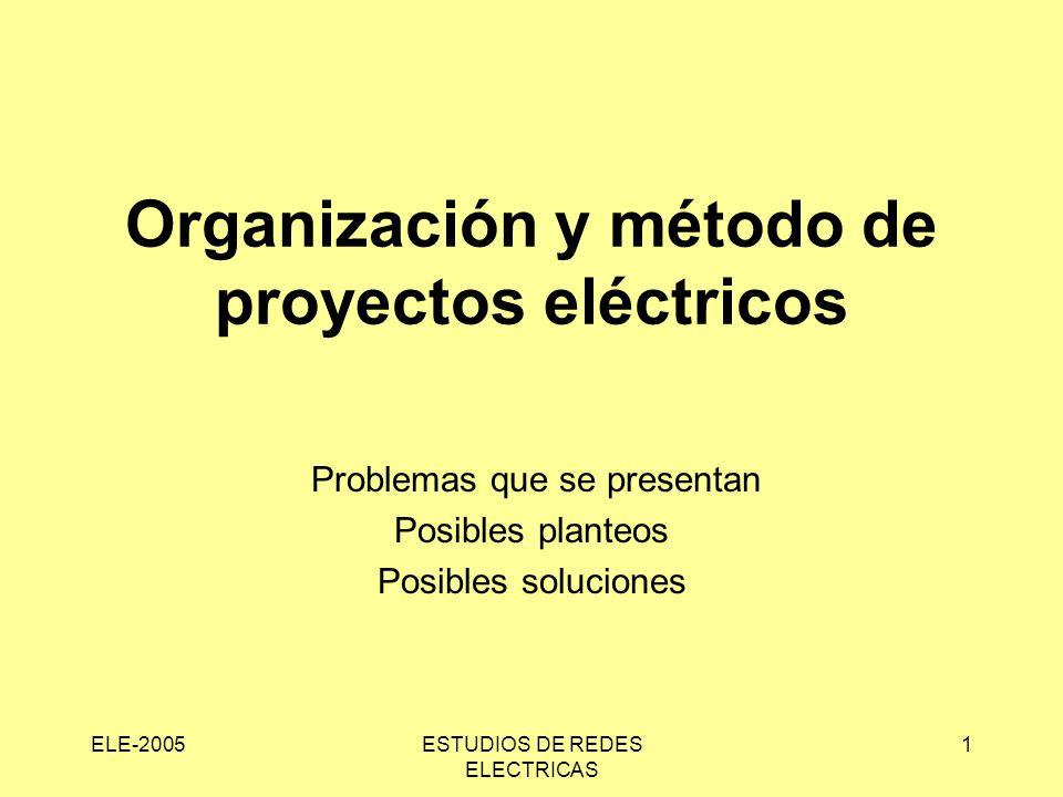 ELE-2005ESTUDIOS DE REDES ELECTRICAS 1 Organización y método de proyectos eléctricos Problemas que se presentan Posibles planteos Posibles soluciones
