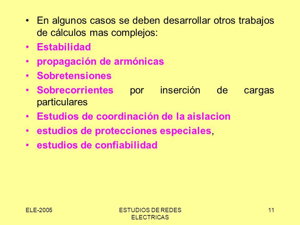 ELE-2005ESTUDIOS DE REDES ELECTRICAS 11 En algunos casos se deben desarrollar otros trabajos de cálculos mas complejos: Estabilidad propagación de arm
