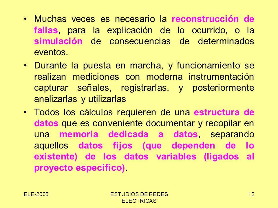 ELE-2005ESTUDIOS DE REDES ELECTRICAS 12 Muchas veces es necesario la reconstrucción de fallas, para la explicación de lo ocurrido, o la simulación de consecuencias de determinados eventos.
