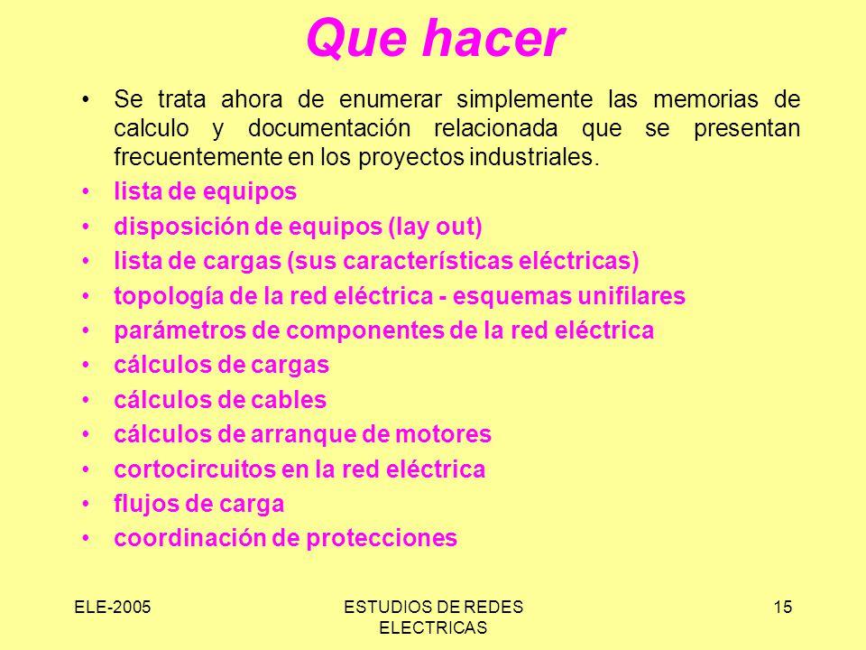 ELE-2005ESTUDIOS DE REDES ELECTRICAS 15 Que hacer Se trata ahora de enumerar simplemente las memorias de calculo y documentación relacionada que se presentan frecuentemente en los proyectos industriales.