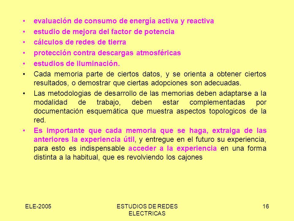 ELE-2005ESTUDIOS DE REDES ELECTRICAS 16 evaluación de consumo de energía activa y reactiva estudio de mejora del factor de potencia cálculos de redes