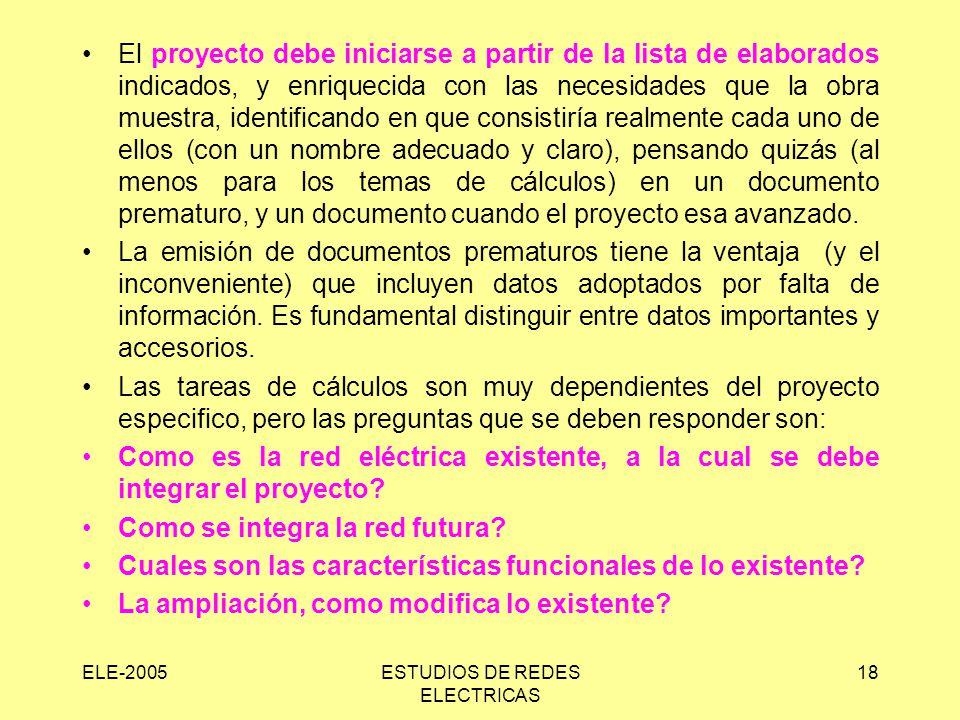 ELE-2005ESTUDIOS DE REDES ELECTRICAS 18 El proyecto debe iniciarse a partir de la lista de elaborados indicados, y enriquecida con las necesidades que