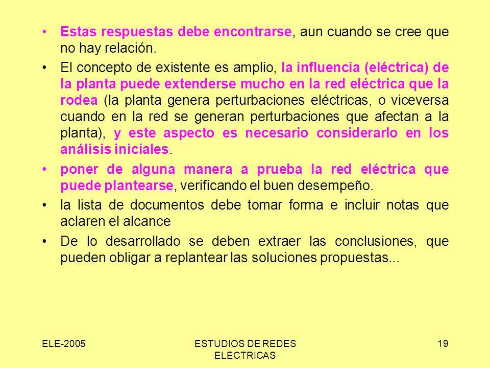 ELE-2005ESTUDIOS DE REDES ELECTRICAS 19 Estas respuestas debe encontrarse, aun cuando se cree que no hay relación.