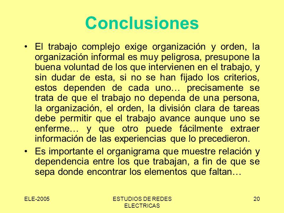 ELE-2005ESTUDIOS DE REDES ELECTRICAS 20 Conclusiones El trabajo complejo exige organización y orden, la organización informal es muy peligrosa, presup