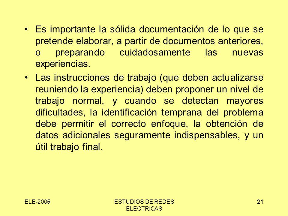 ELE-2005ESTUDIOS DE REDES ELECTRICAS 21 Es importante la sólida documentación de lo que se pretende elaborar, a partir de documentos anteriores, o preparando cuidadosamente las nuevas experiencias.