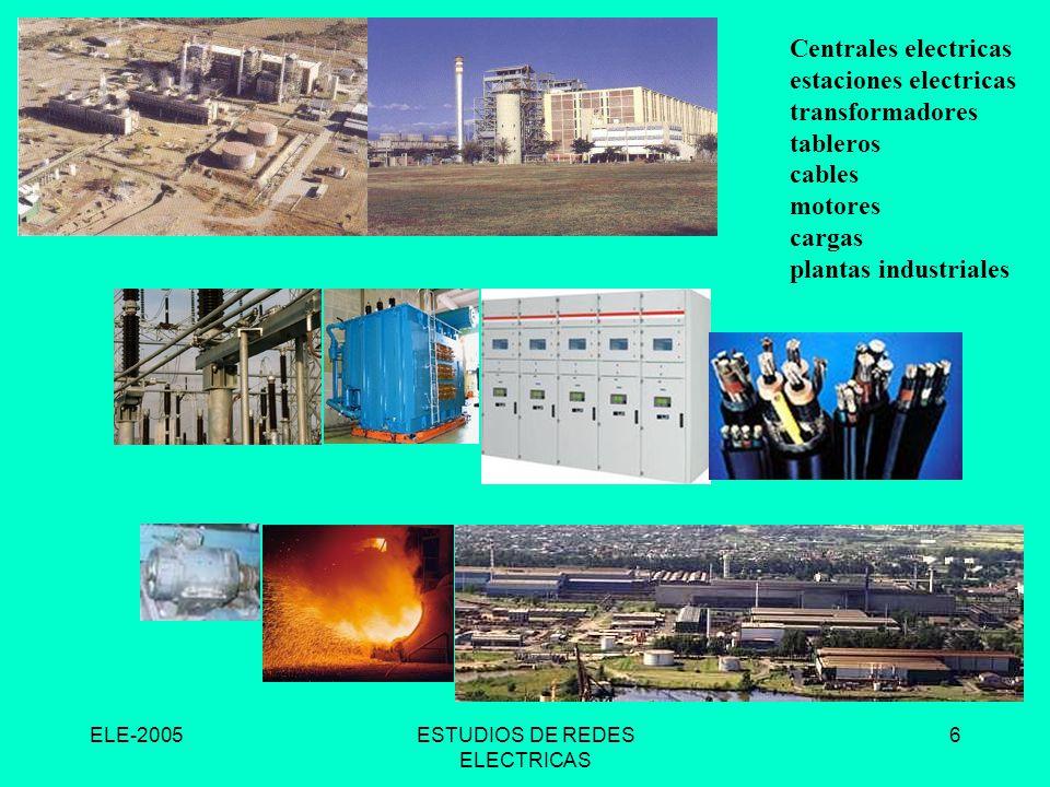 ELE-2005ESTUDIOS DE REDES ELECTRICAS 6 Centrales electricas estaciones electricas transformadores tableros cables motores cargas plantas industriales