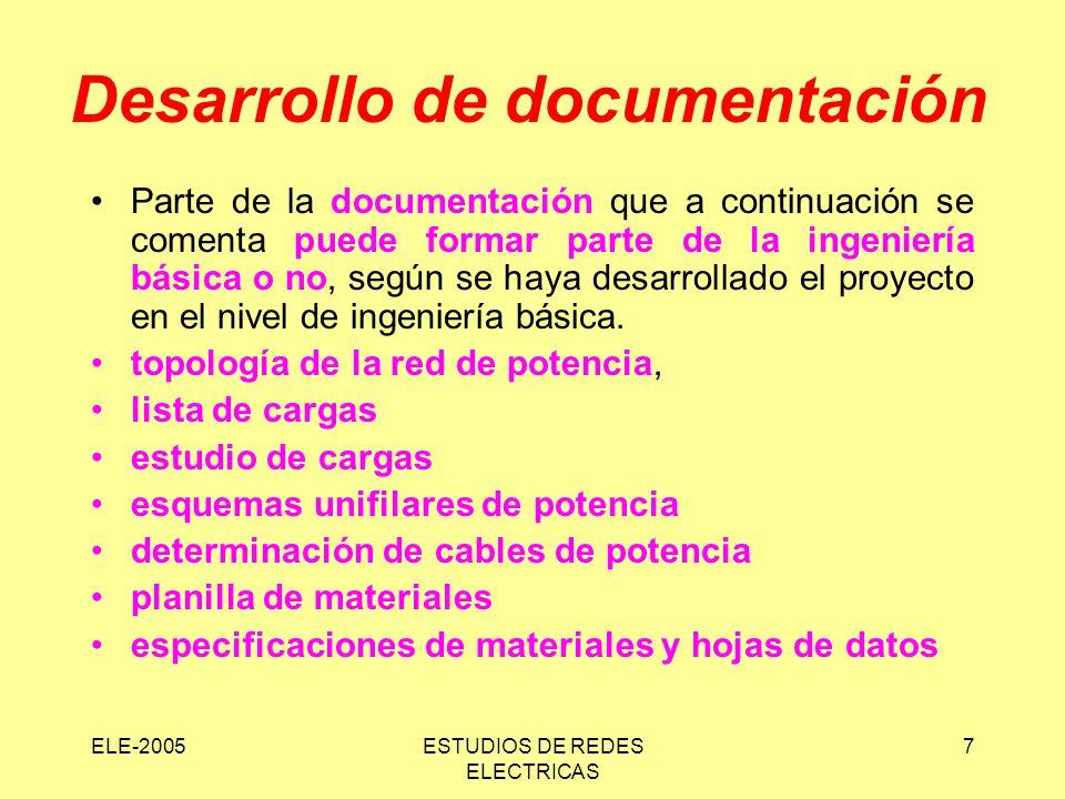 ELE-2005ESTUDIOS DE REDES ELECTRICAS 7 Desarrollo de documentación Parte de la documentación que a continuación se comenta puede formar parte de la in