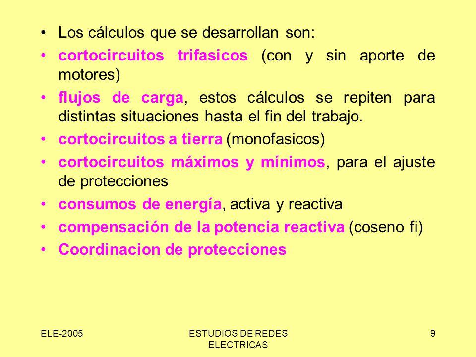 ELE-2005ESTUDIOS DE REDES ELECTRICAS 9 Los cálculos que se desarrollan son: cortocircuitos trifasicos (con y sin aporte de motores) flujos de carga, estos cálculos se repiten para distintas situaciones hasta el fin del trabajo.