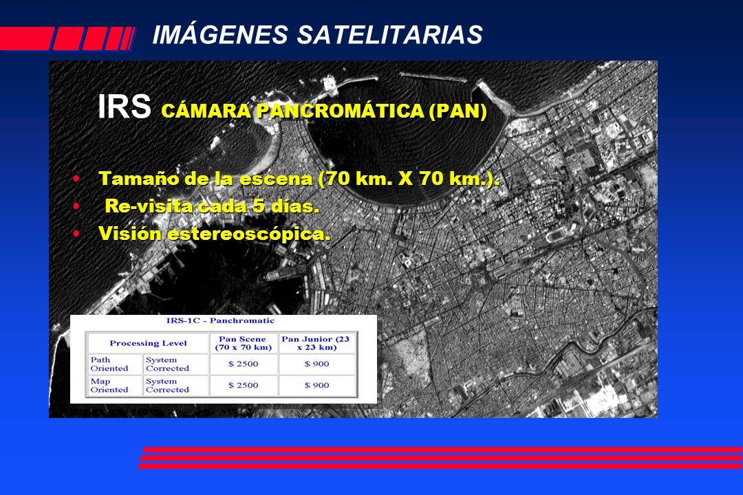 IMÁGENES SATELITARIAS IRS CÁMARA PANCROMÁTICA (PAN) Tamaño de la escena (70 km.