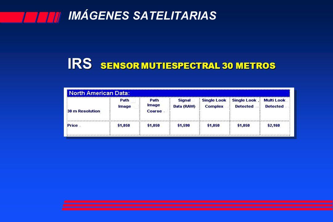 IMÁGENES SATELITARIAS IRS SENSOR MUTIESPECTRAL 30 METROS