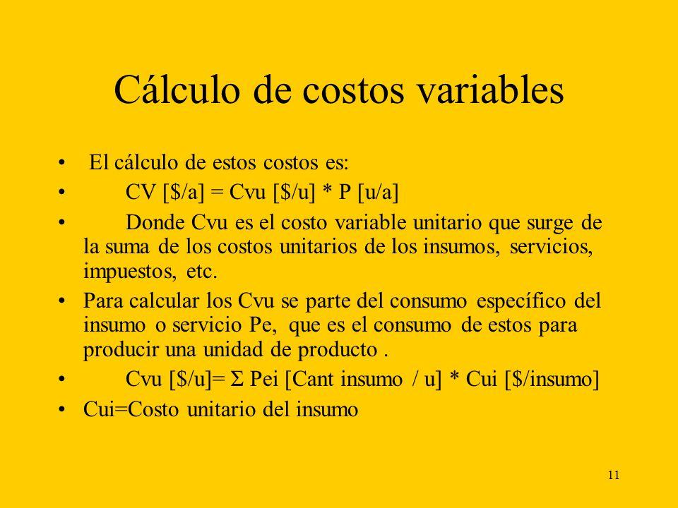 11 Cálculo de costos variables El cálculo de estos costos es: CV [$/a] = Cvu [$/u] * P [u/a] Donde Cvu es el costo variable unitario que surge de la s