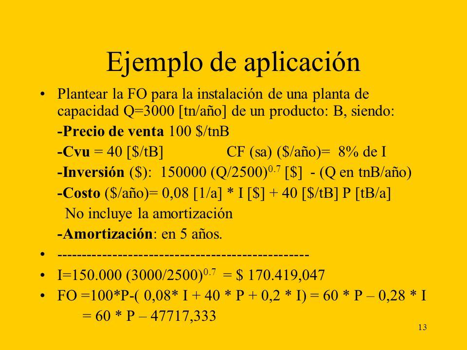 13 Ejemplo de aplicación Plantear la FO para la instalación de una planta de capacidad Q=3000 [tn/año] de un producto: B, siendo: -Precio de venta 100