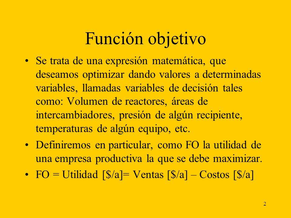 13 Ejemplo de aplicación Plantear la FO para la instalación de una planta de capacidad Q=3000 [tn/año] de un producto: B, siendo: -Precio de venta 100 $/tnB -Cvu = 40 [$/tB] CF (sa) ($/año)= 8% de I -Inversión ($): 150000 (Q/2500) 0.7 [$] - (Q en tnB/año) -Costo ($/año)= 0,08 [1/a] * I [$] + 40 [$/tB] P [tB/a] No incluye la amortización -Amortización: en 5 años.