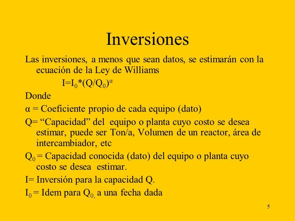 5 Inversiones Las inversiones, a menos que sean datos, se estimarán con la ecuación de la Ley de Williams I=I 0 *(Q/Q 0 ) α Donde α = Coeficiente prop