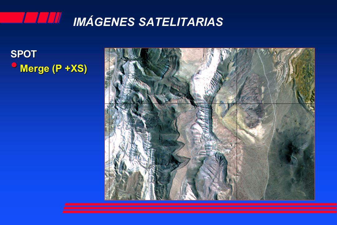 IMÁGENES SATELITARIAS SPOT RESOLUCIÓN ESPACIAL Y ESPECTRAL Sensores BandasTamaño del píxel Spot 5 Pancromática B1 : verde B2 : rojo B3 : infrarrojo cercano B4 : infrarrojo medio (MIR) 2,5 m o 5 m 10 m 10 m 10 m 20 m Spot 4 Pancromática B1 : verde B2 : rojo B3 : infrarrojo cercano B4 : infrarrojo medio (MIR) 10 m 20 m 20 m 20 m 20 m Spot 1 Spot 2 Spot 3 Pancromática B1 : verde B2 : rojo B3 : infrarrojo cercano 10 m 20 m 20 m 20 m