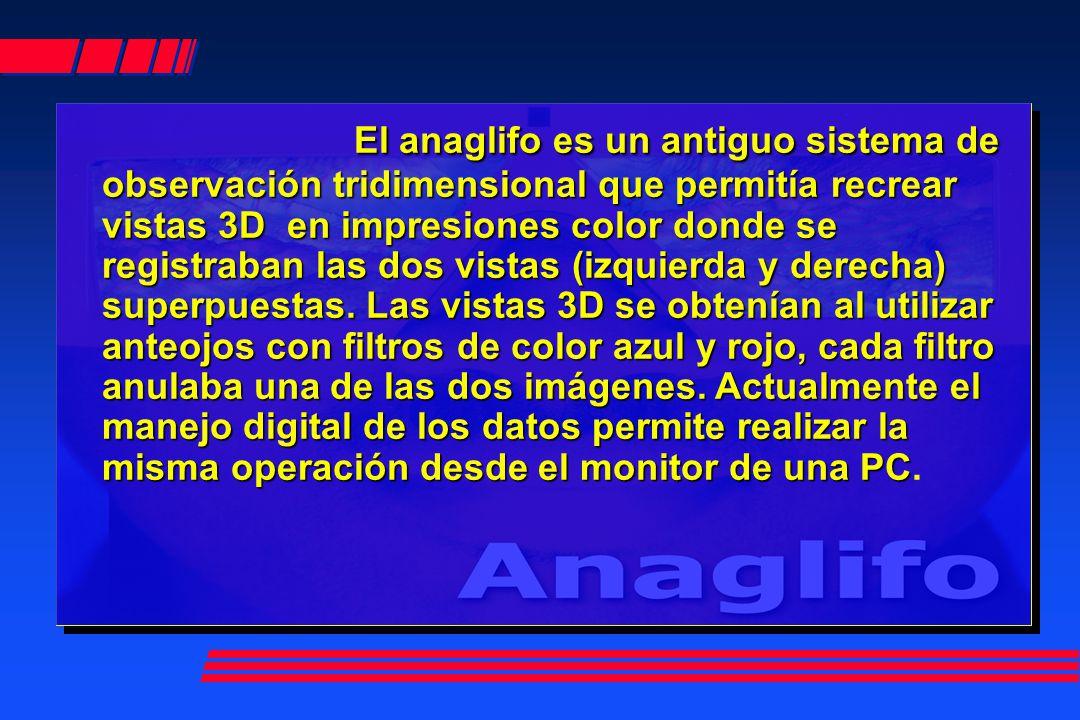 El anaglifo es un antiguo sistema de observación tridimensional que permitía recrear vistas 3D en impresiones color donde se registraban las dos vistas (izquierda y derecha) superpuestas.