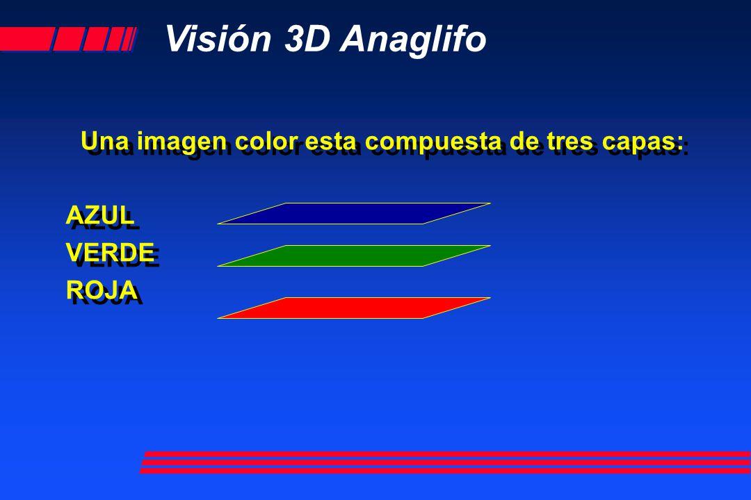 Visión 3D Anaglifo Un par estereoscopico esta compuesto por dos imágenes de la misma zona tomadas de distintos puntos de vista: IMAGEN DERECHA IMAGEN IZQUIERDA