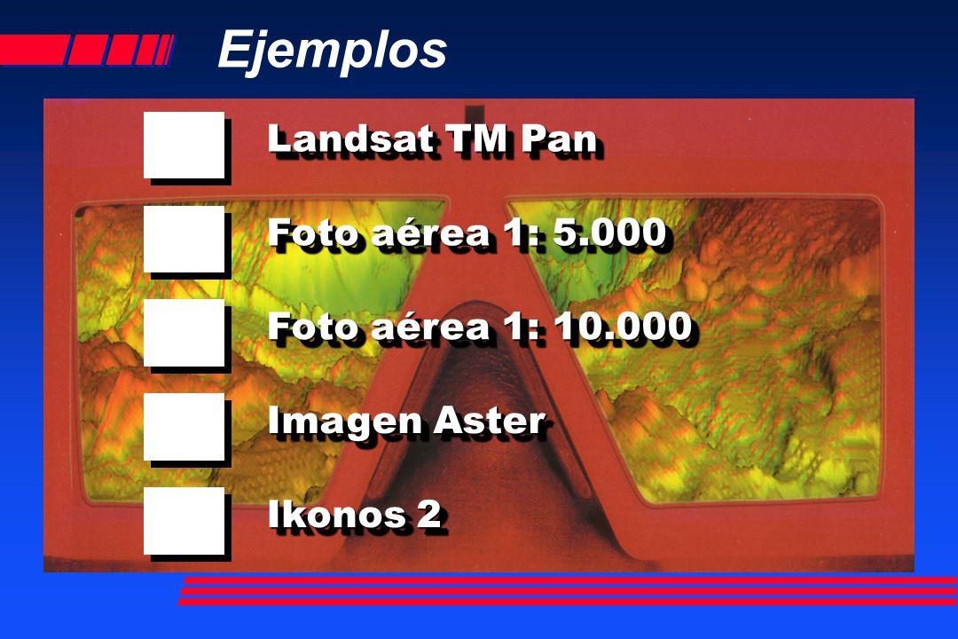 Landsat TM Pan Foto aérea 1: 5.000 Imagen Aster Ikonos 2 Foto aérea 1: 10.000 Ejemplos